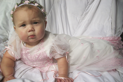 Alyssa Pink Lace Christening Gown