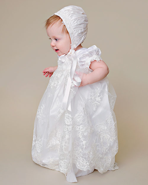 Chloe Silk & Lace Christening Gown