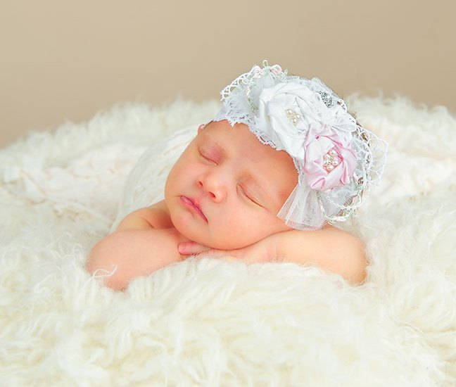 Jessa Christening Headband | Silk Rosette Headbands for Baby Girls