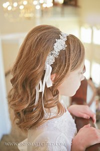Beaded Lace First Communion Headwrap   Hair Accessories for Girls