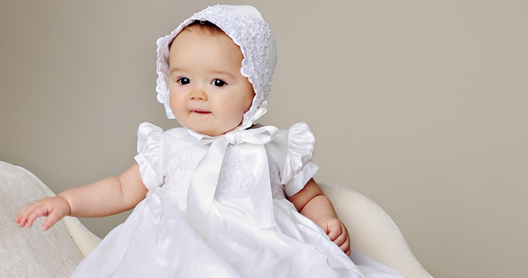 Esther–Our New Silk Baptism Gown featuring Embroidered Lace Trim!
