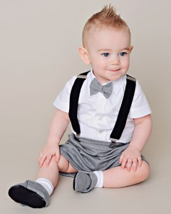Gray baby shorts and suspenders