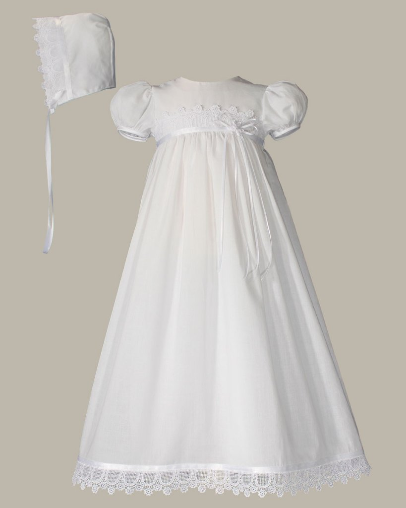 "Girls 26"" Cotton Christening Gown with Italian Lace"