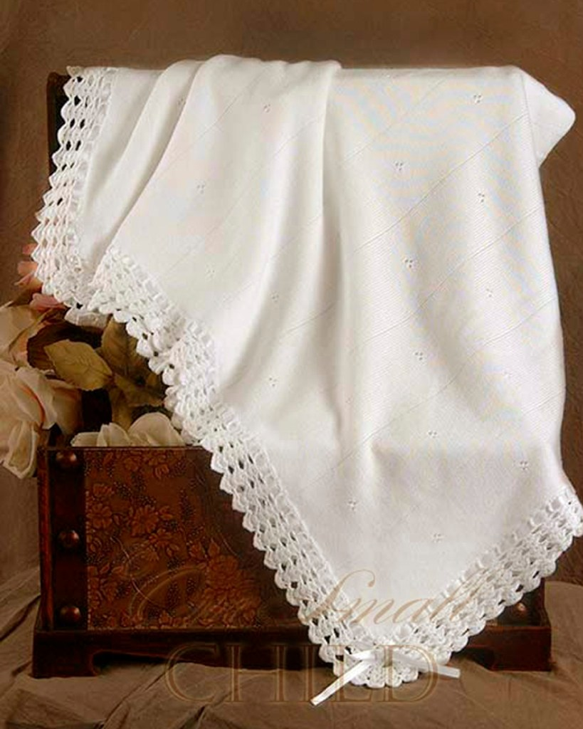 Crochet Edge Christening Blanket