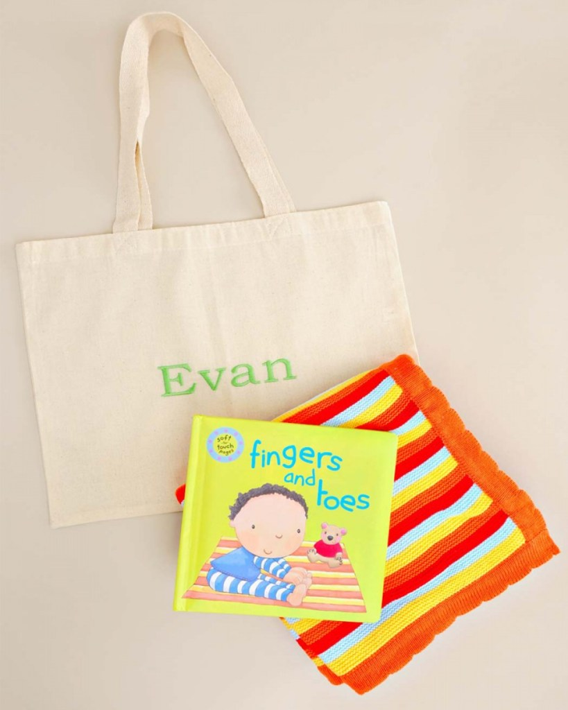 Fingers and Toes Book and Blanket Gift Tote