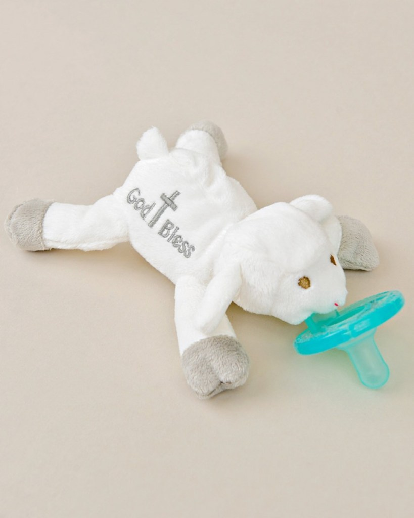 God Bless' Lamb Plush Pacifier