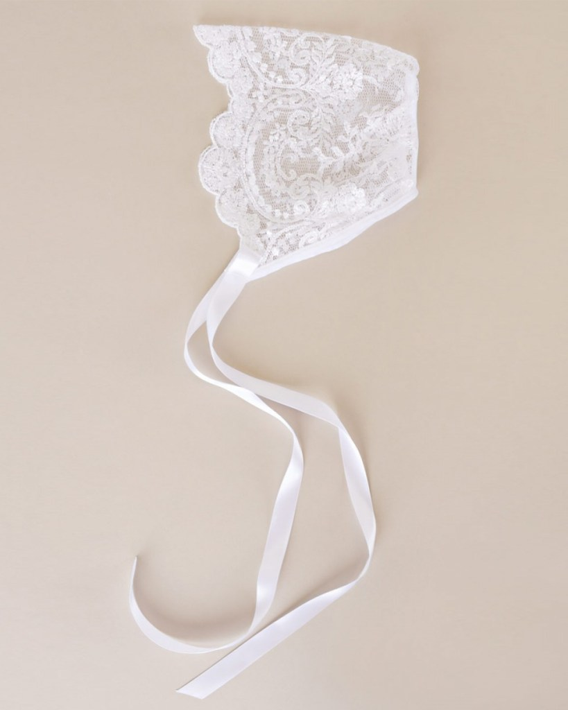 White Embroidered Lace Bonnet