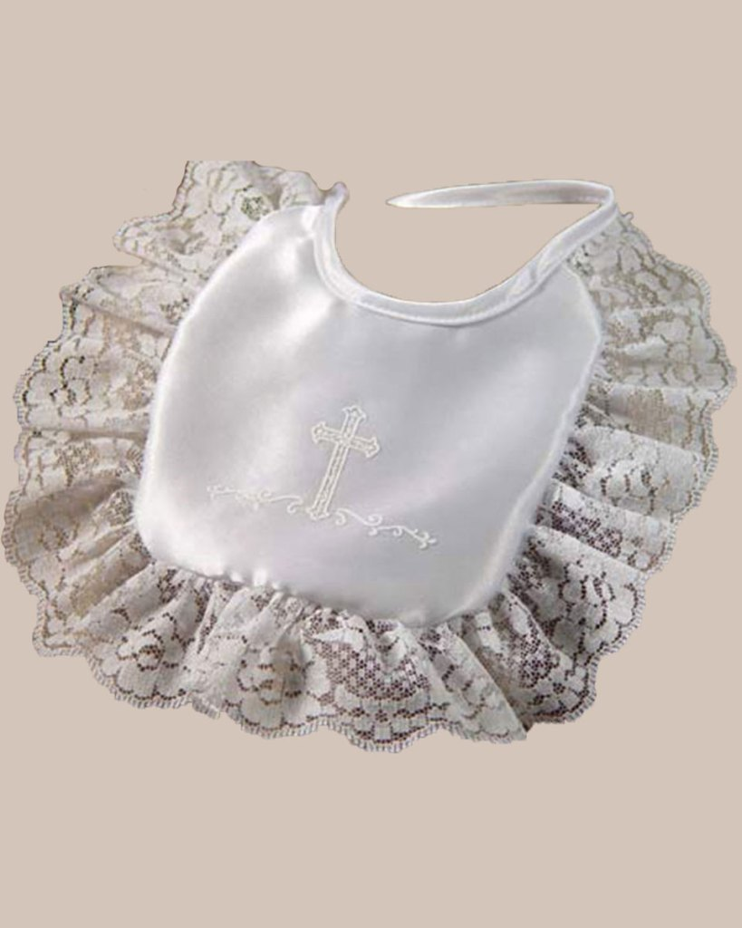 Girls Matte Satin Bib with Lace and Cross