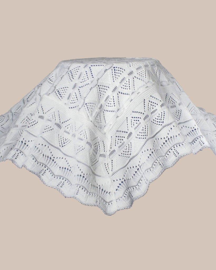 White Knit Baby Christening Shawl