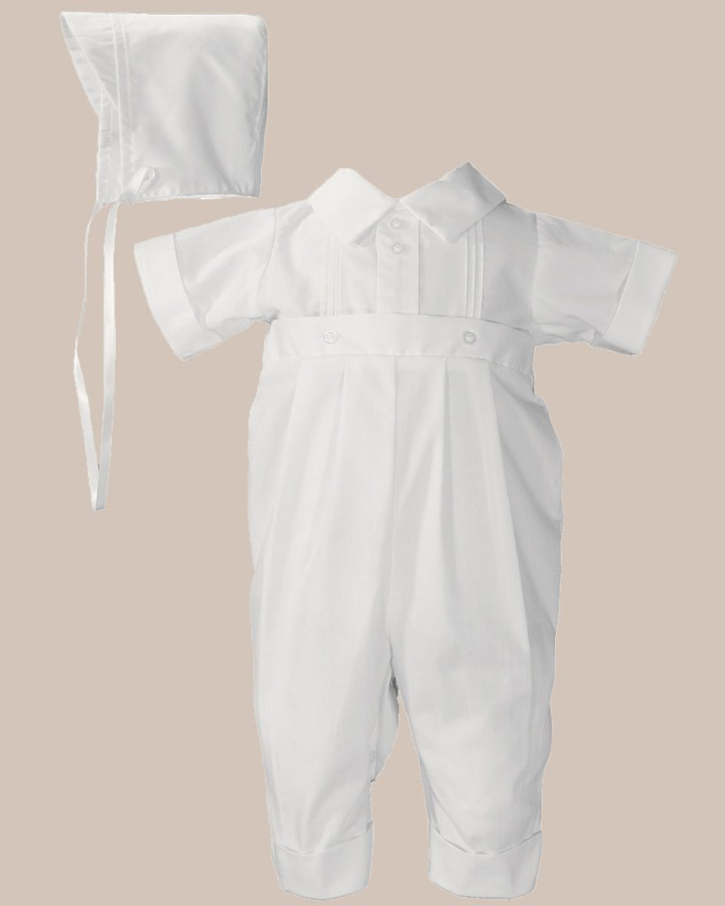 Boys Poly Cotton One Piece Christening Baptism Coverall with Pin Tucking