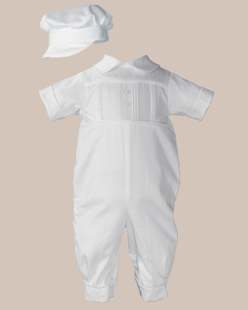 Boys Cotton Sateen Short Sleeve Christening Baptism Coverall with Pleated Front and Hat