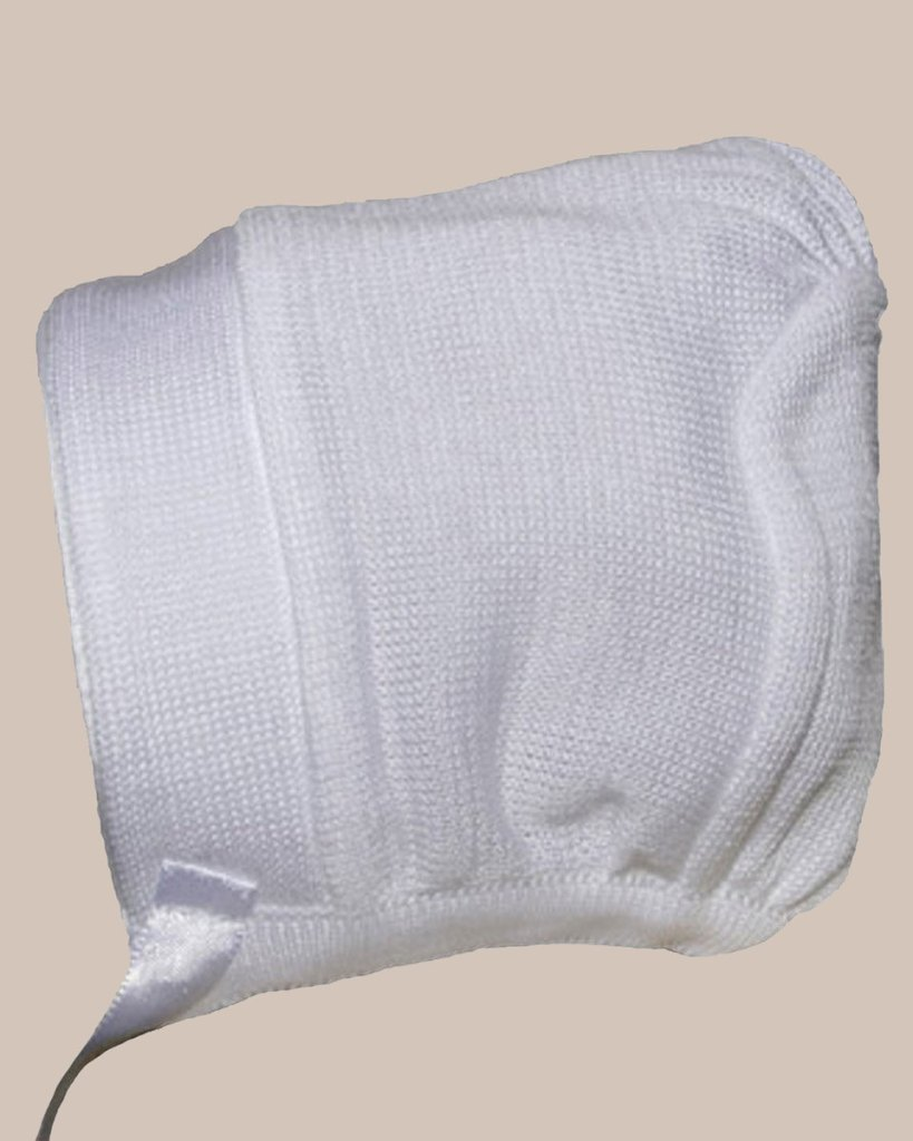 Boys White Cotton Knit Hat or Bonnet