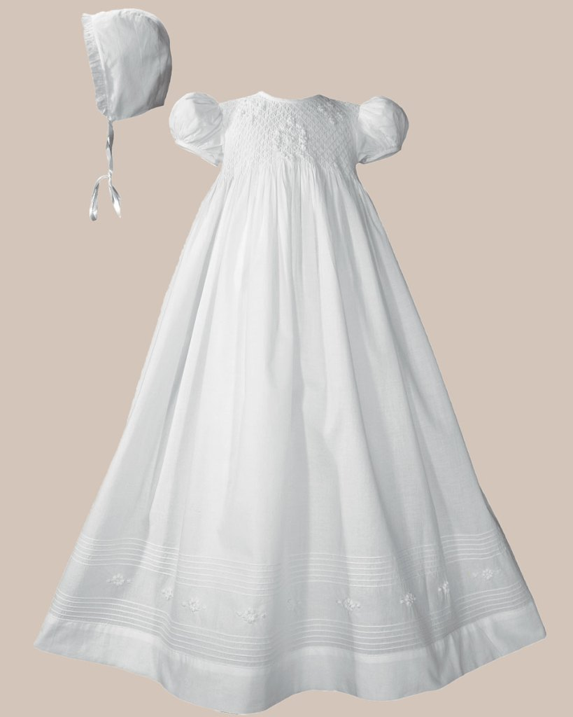 """Girls 32"""" Cotton Hand Smocked Christening Gown Baptism Dress with Hand Embroidery"""