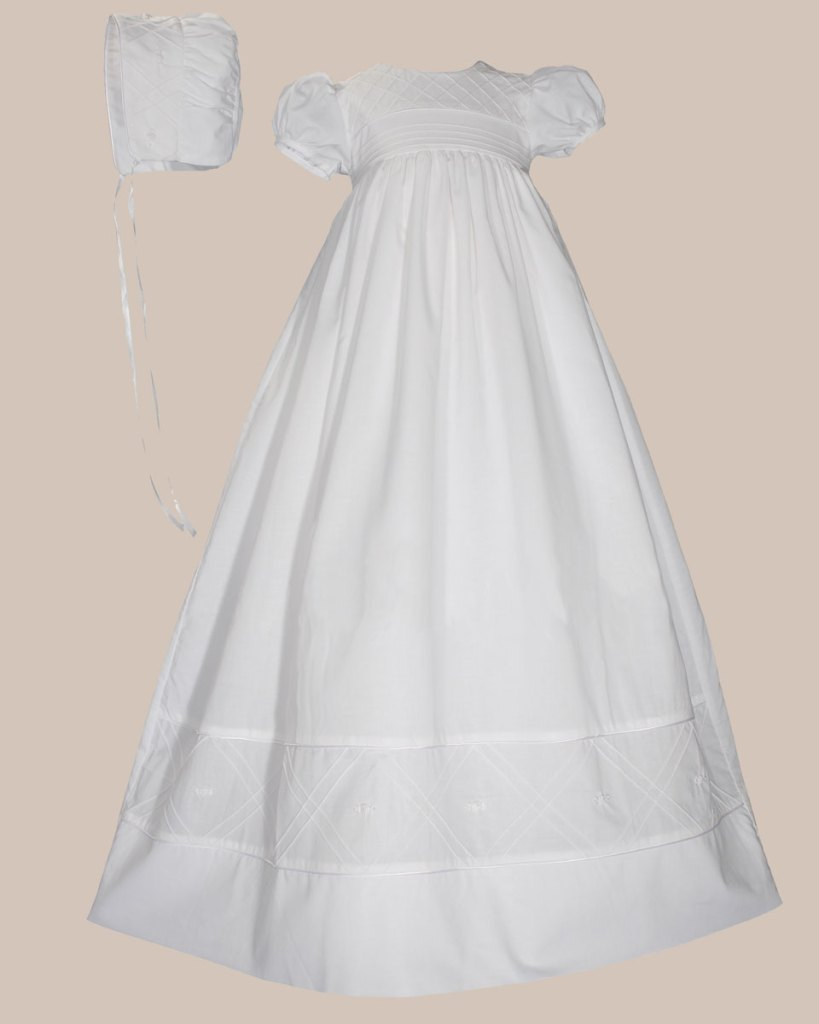 """Girls 34"""" Cotton Dress Christening Gown Baptism Gown with Hand Embroidery"""