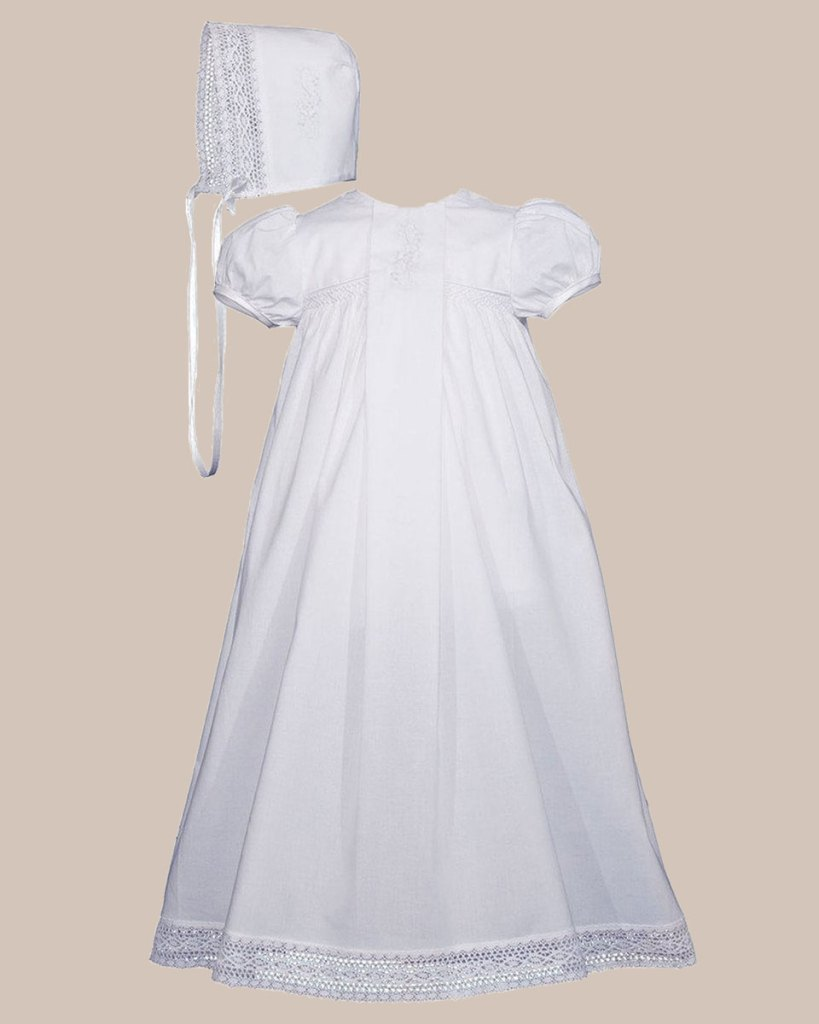 "Girls 25"" Victorian Style Cotton Christening Baptism Gown"