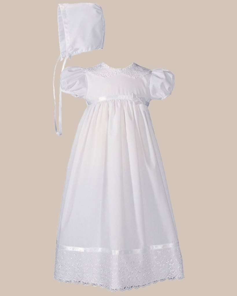 "Girls 24"" Poly Cotton Christening Baptism Gown with Lace Collar and Hem"
