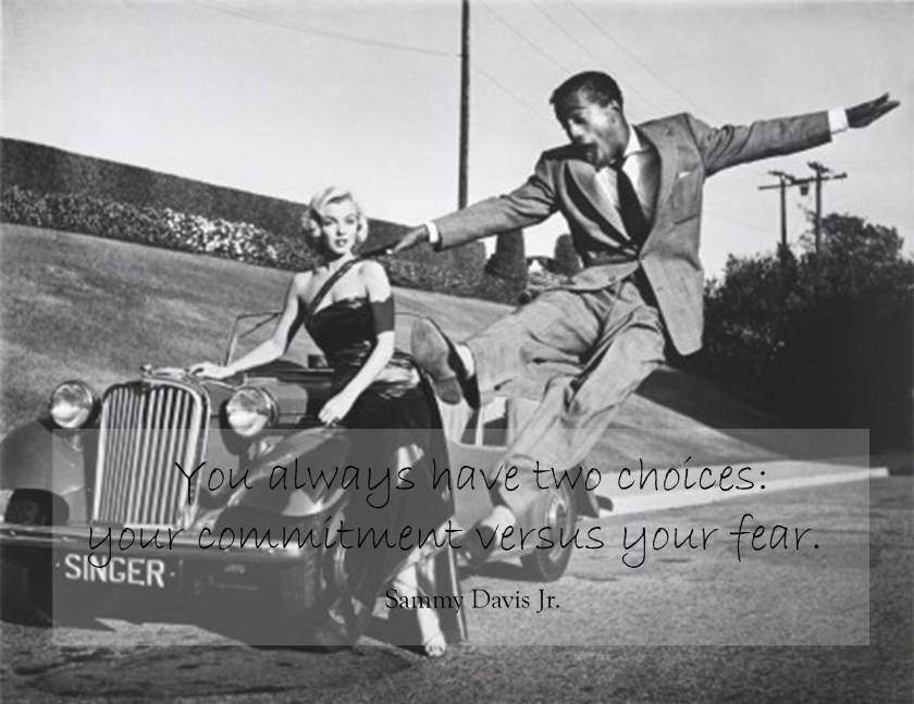 Sammy Davis Jr leaps For Marilyn Monroe by Frank Worth