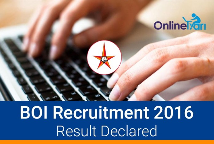 BOI Specialist Officer Result Declared 2016