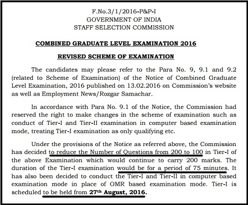 SSC CGL New Exam Pattern Scheme 2016-17