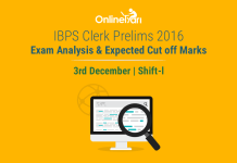 IBPS Clerk Exam Analysis, Prelims Cut off: 3 December 2016 (Shift 1)