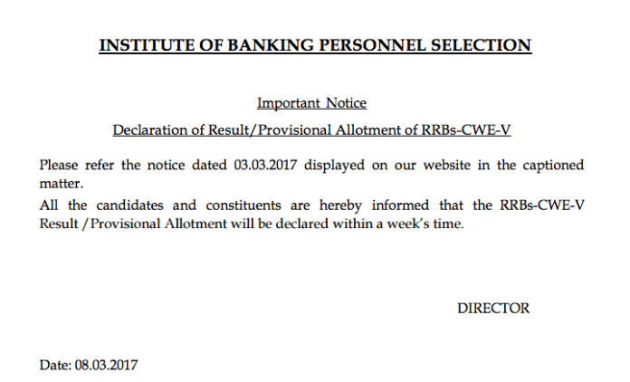 IBPS RRB Result 2017