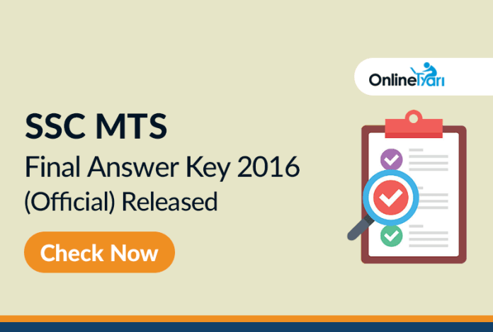 SSC MTS 2016 Final Answer Key (Official) Released: Check here