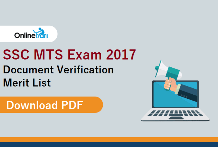 SSC MTS 2017 Document Verification Merit List: Download PDF