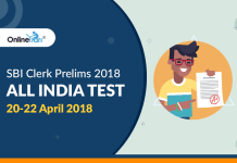 SBI Clerk Prelims 2018 All India Test (AIT) | 20-22 April 2018