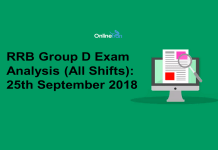 RRB Group D Exam Analysis 2018 (All Shift): 25th September