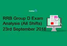 RRB Group D Exam Analysis 2018 (All Shift): 23rd September