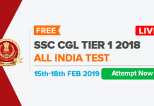 SSC CGL All India Test (AIT) | 15th - 18th February 2019