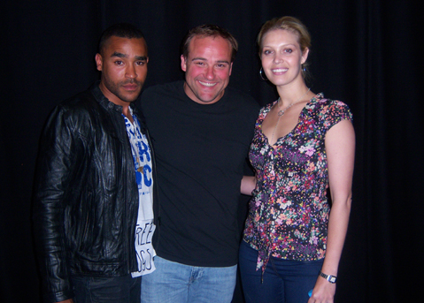 Jamil Walker Smith, David Deluise and Alaina Huffman pose backstage for OTB