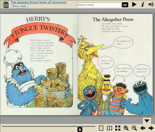sesame street book of nonsense in the bookreader