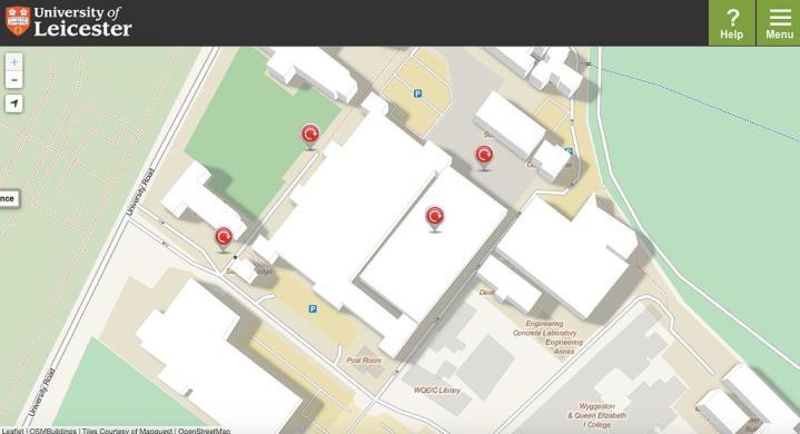 Campus com edificações em 3D