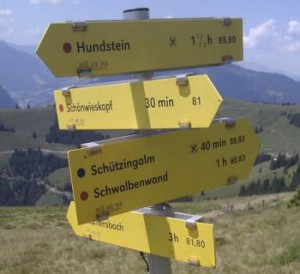 A typical hiking guidepost in the Austrian alps
