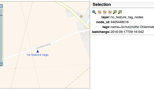 screen shot OpenStreetMap Inspector, objects without important tags