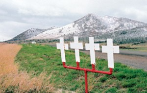 Four crosses along U.S. 287 between Helena and Townsend mark the spot where a fatal accident occurred.