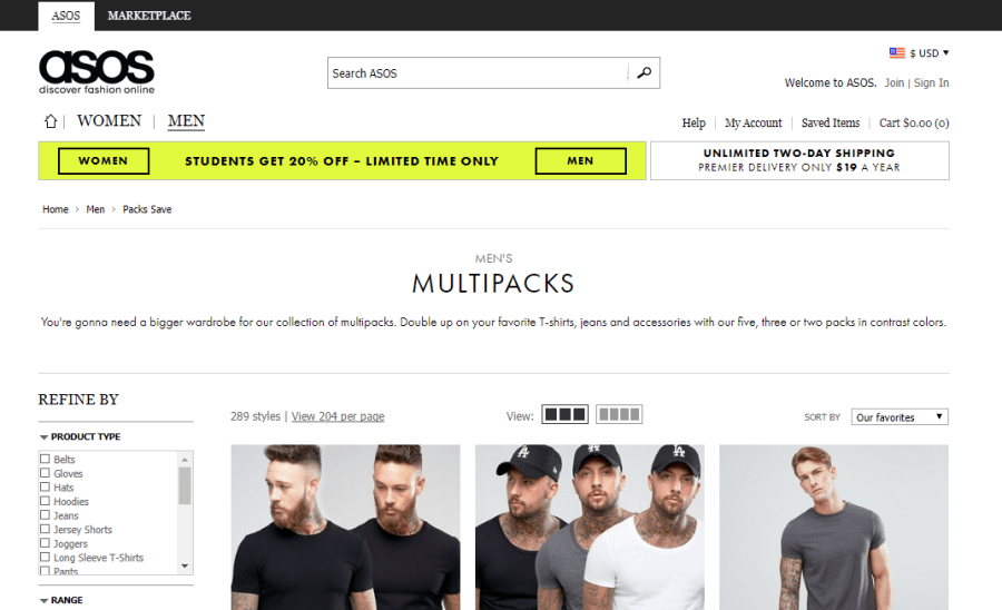The ASOS 'Multipacks' page