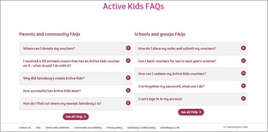 The top level of the FAQs section