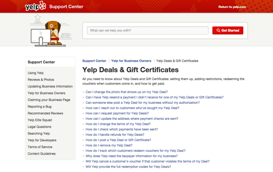 yelp support
