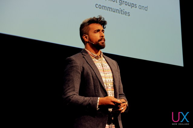 Michael Palmyre onstage at UX New Zealand 2017