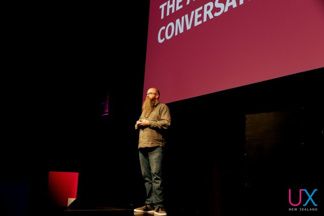 Mark Wyner onstage at UX New Zealand 2017