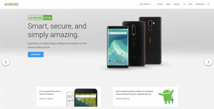 The Android website homepage.
