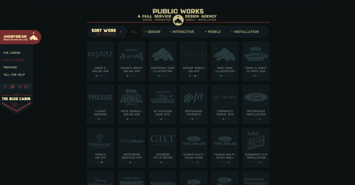 The 'Public Works' section of the Angry Bear website.