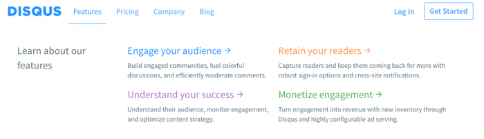 The features sub-options menu on the Disqus homepage.