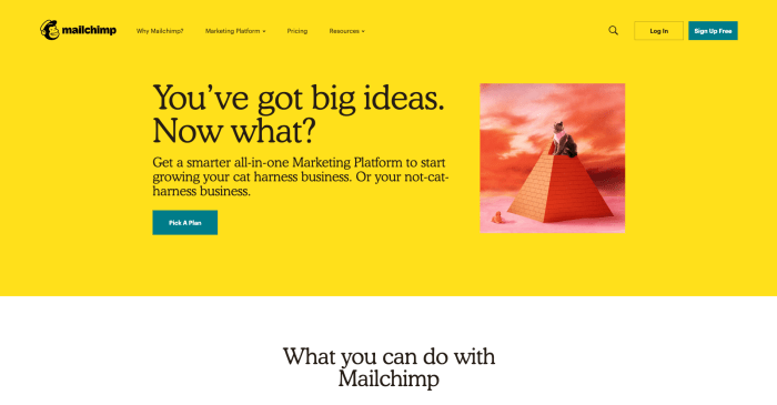 Mailchimp's website home page