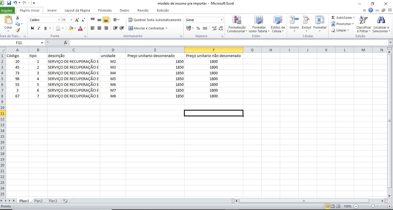 arquivo de importação