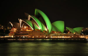 Sydney Opera House lit up for St Patrick's Day. (Photo by Mike Young)