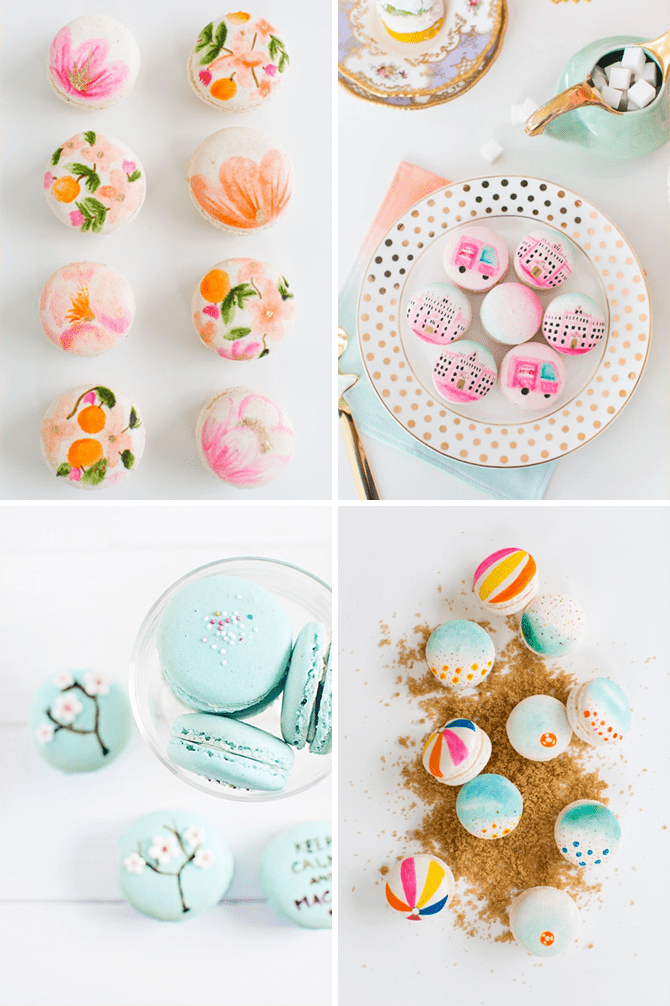 beautiful hand painted macarons for your wedding day