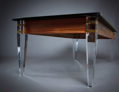 Ebonized walnut coffee table with acrylic legs by DIB Woodworking. Legs provided by Osborne Wood Products.